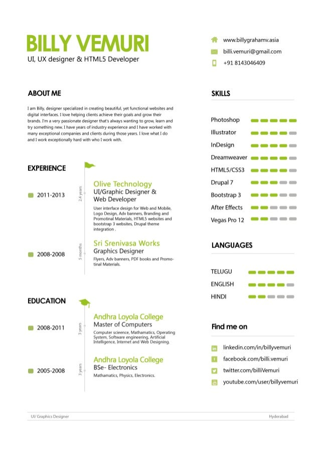 user interface designer resume