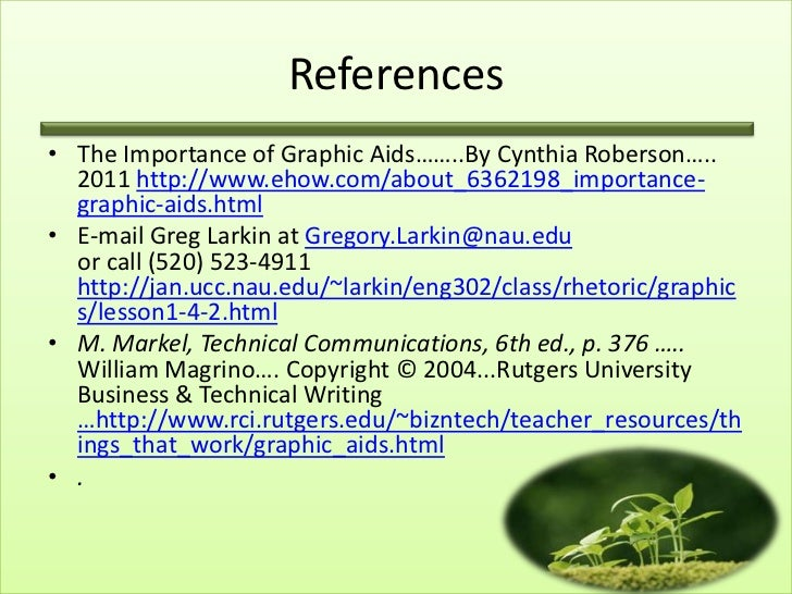 References• The Importance of Graphic Aids……..By Cynthia Roberson…..  2011 http://www.ehow.com/about_6362198_importance-  ...