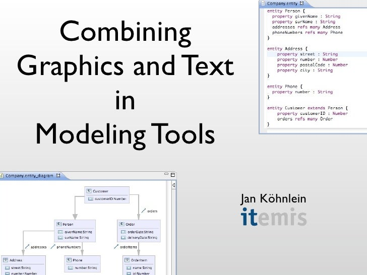 Combining Graphics and Text        in  Modeling Tools                     Jan Köhnlein