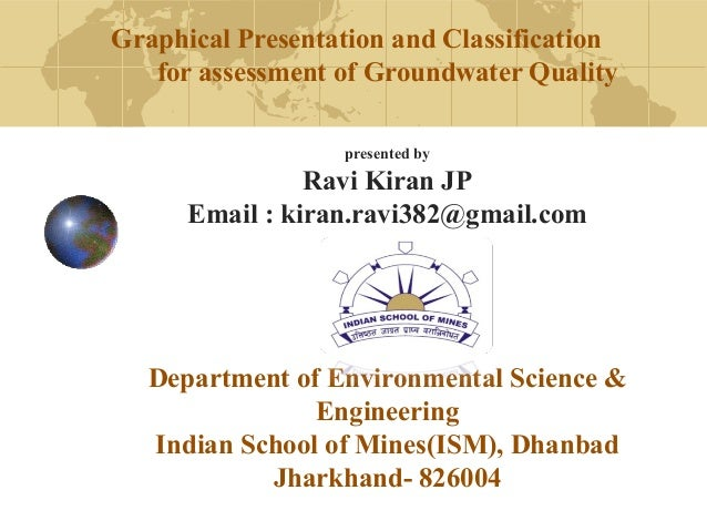 Graphical Presentation and Classification  for assessment of Groundwater Quality  presented by  Ravi Kiran JP  Email : kir...