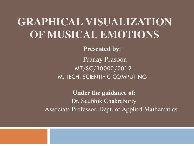 GRAPHICAL VISUALIZATION OF MUSICAL EMOTIONS Presented by: Pranay Prasoon MT/SC/10002/2012 M. TECH. SCIENTIFIC COMPUTING Un...