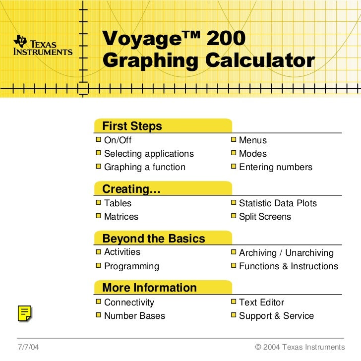 TI       Voyage™ 200         Graphing Calculator         First Steps         On/Off                   Menus         Select...