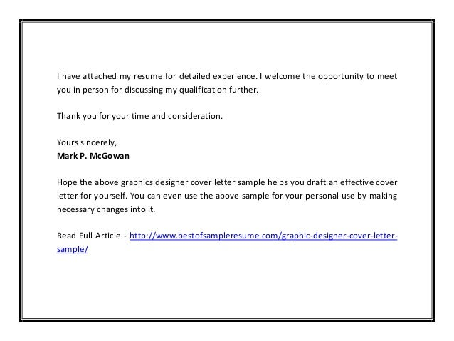 Graphic Designer Cover Letter Sample Pdf