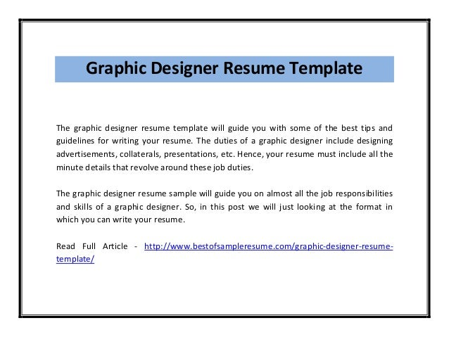 graphic designer resume template the graphic designer resume template will guide you - Graphic Design Resume Samples Pdf