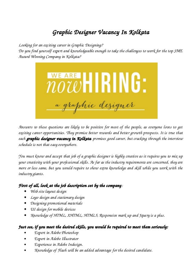 graphic designer vacancy in kolkata
