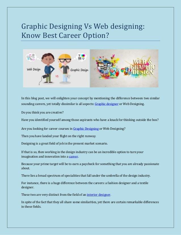 Graphic Designing Vs Web Designing Know Best Career Option