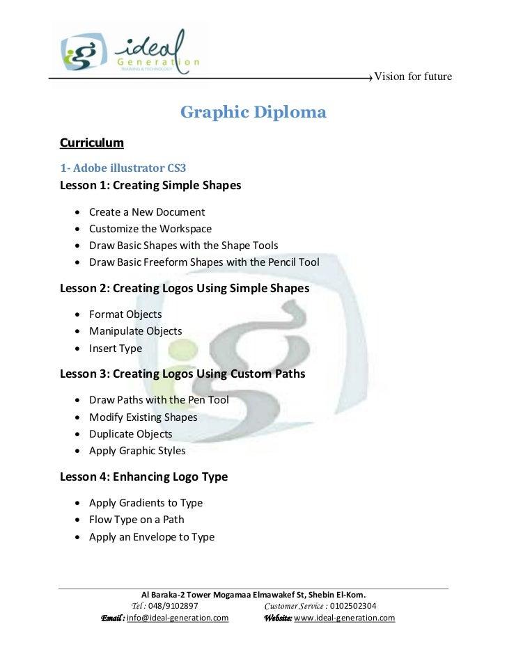 Vision for future                           Graphic DiplomaCurriculum1- Adobe illustrator CS3Lesson 1: Creating Simple Sha...