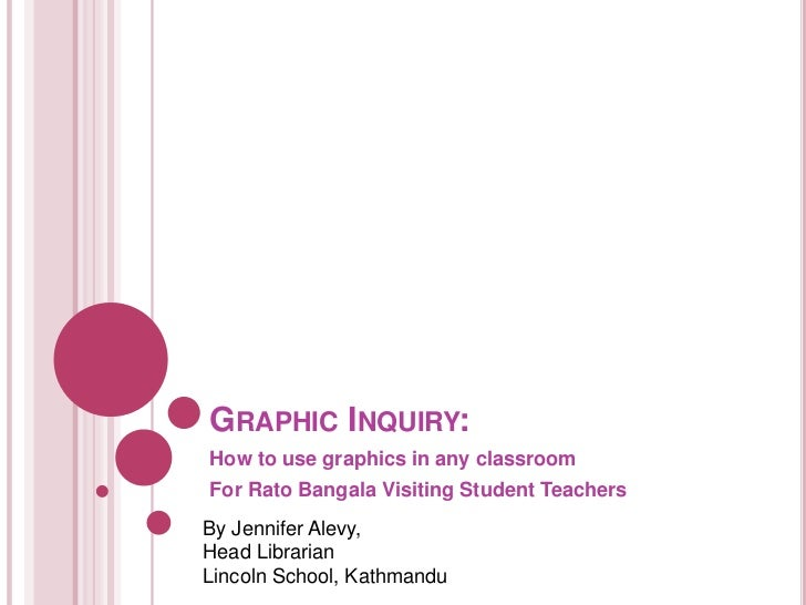 GRAPHIC INQUIRY:How to use graphics in any classroomFor Rato Bangala Visiting Student TeachersBy Jennifer Alevy,Head Libra...