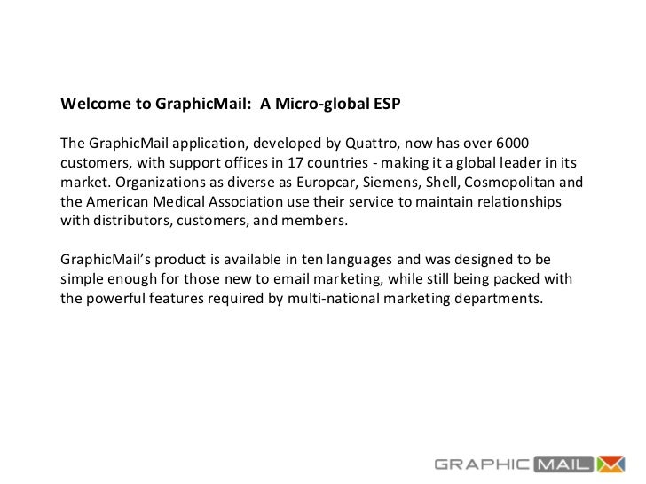 Welcome to GraphicMail:  A Micro-global ESP The GraphicMail application, developed by Quattro, now has over 6000 customers...