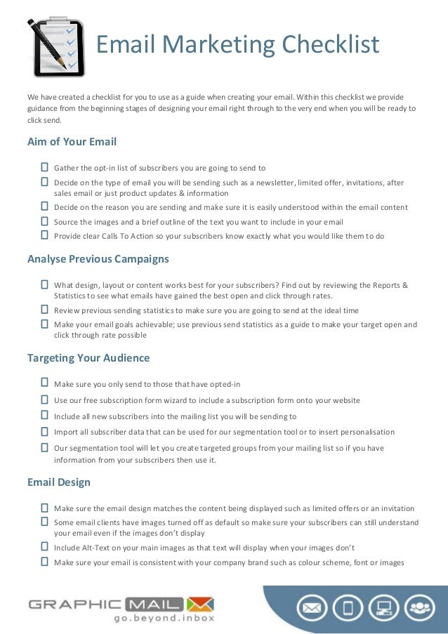 Email Marketing ChecklistWe have created a checklist for you to use as a guide when creating your email. Within this check...