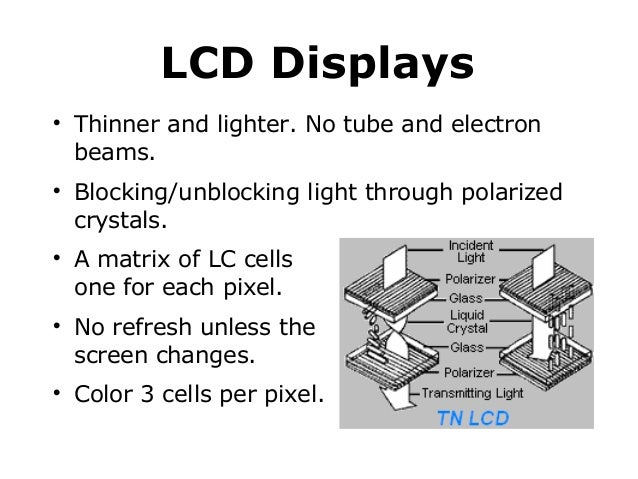 LCD Displays           Thinner and lighter. No tube and electron beams. Blocking/unblocking light through polarized c...