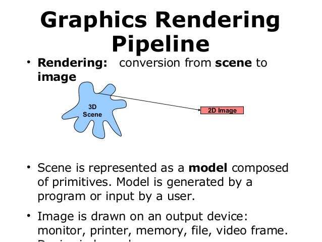 Graphics Rendering Pipeline    Rendering: image 3D Scene      conversion from scene to  2D Image  Scene is represented ...