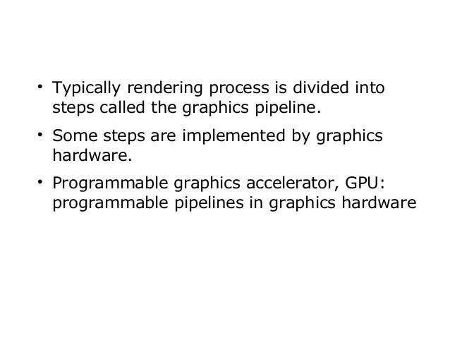       Typically rendering process is divided into steps called the graphics pipeline. Some steps are implemented by gra...