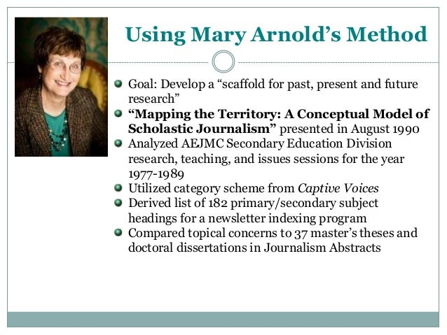 """Using Mary Arnold's Method Goal: Develop a """"scaffold for past, present and future research"""" """"Mapping the Territory: A Conc..."""