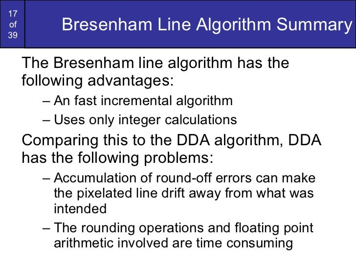 Dda Line Drawing Algorithm Problems : Graphics bresenham circlesandpolygons