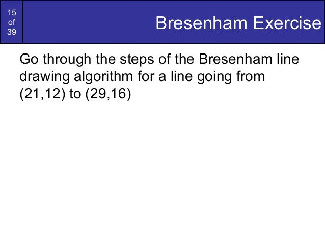 The Bresenham Line Drawing Algorithm : Bresenham circles and polygons in computer graphics