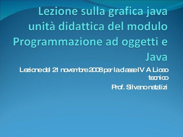Lezione del 21 novembre 2008 per la classe IV A Liceo tecnico Prof. Silvano natalizi