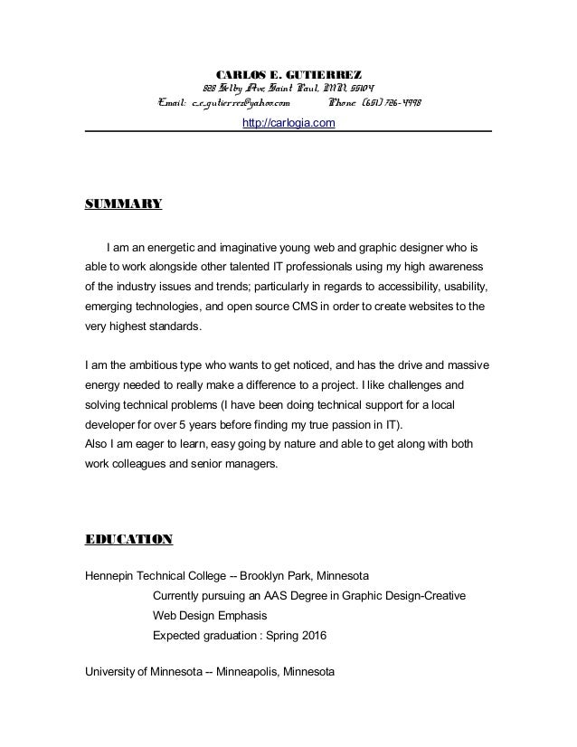 graphic web designer resume