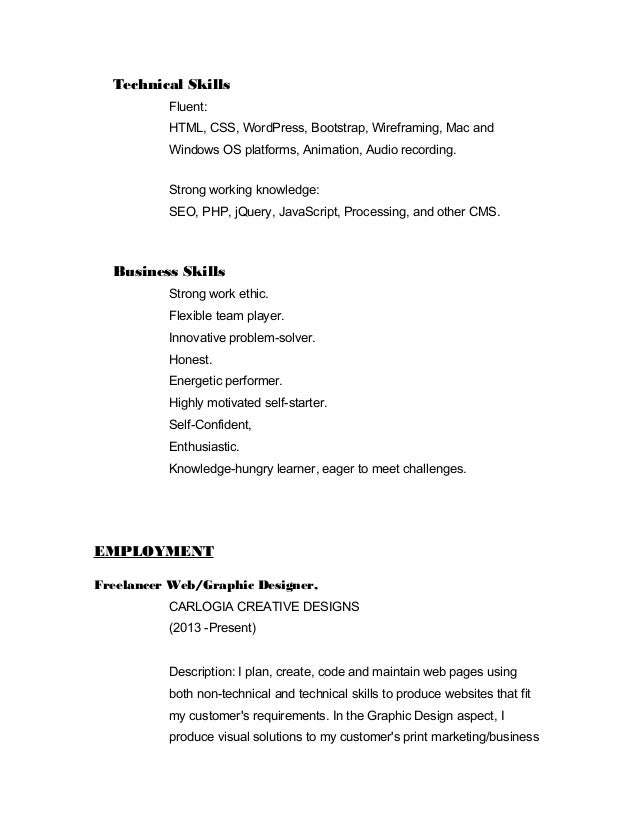Graphic And Web Design Resume