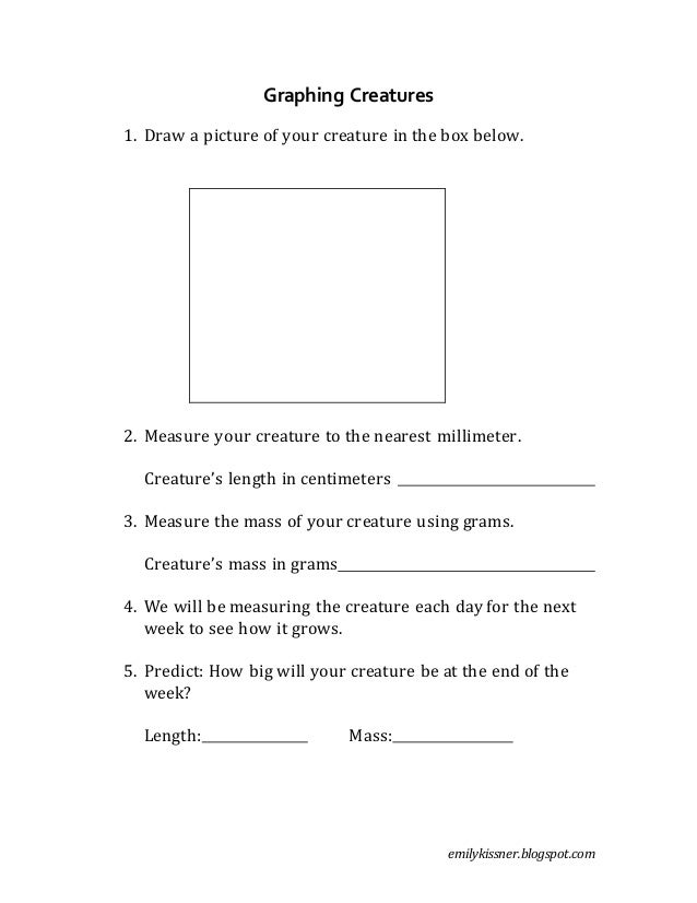 emilykissner.blogspot.com Graphing Creatures 1. Draw a picture of your creature in the box below. 2. Measure your creature...