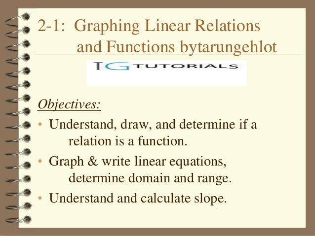 2-1: Graphing Linear Relations     and Functions bytarungehlotObjectives:• Understand, draw, and determine if a     relati...