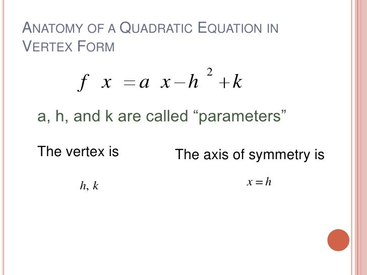 Graphing Quadratic Vertex Form