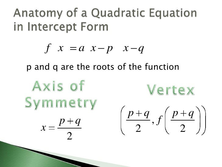 Graphing quadratics in intercept form