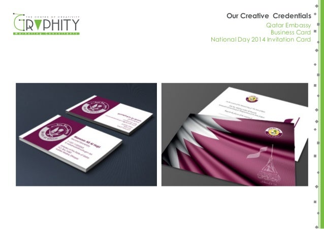 Graphitys portfolio our creative credentials oryx zonair 3d brochure 65 our creative credentials qatar embassy business card national day 2014 invitation stopboris Image collections