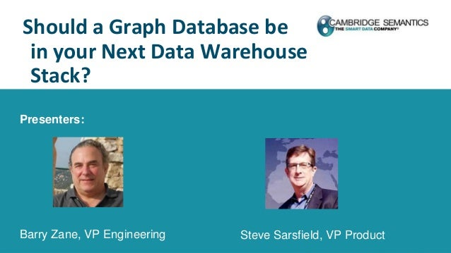 Should a Graph Database be in your Next Data Warehouse Stack? Presenters: Barry Zane, VP Engineering Steve Sarsfield, VP P...