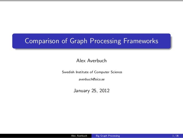 Comparison of Graph Processing Frameworks                    Alex Averbuch           Swedish Institute of Computer Science...
