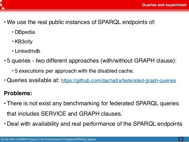 On the Role of GRAPH Clause in the Performance of Federated SPARQL queries Queries and experiment 5 •We use the real publi...