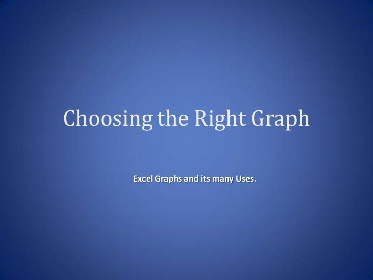 Choosing the Right Graph      Excel Graphs and its many Uses.