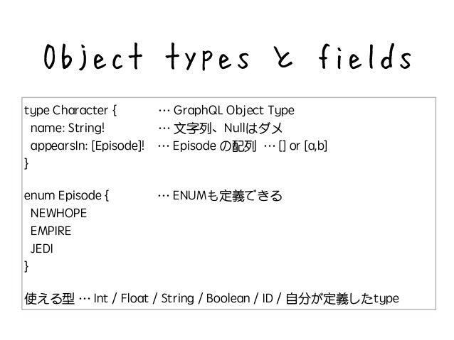 type Character { id : ID! name : String! length(unit: LengthUnit = METER) : Float } Arguments 引数を持たせることもできる
