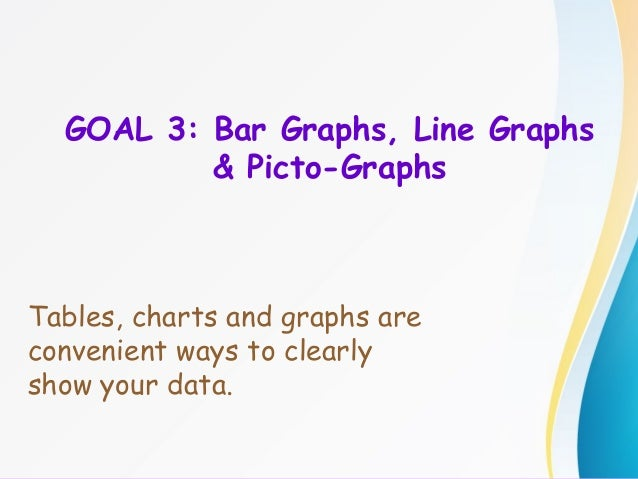 GOAL 3: Bar Graphs, Line Graphs & Picto-Graphs Tables, charts and graphs are convenient ways to clearly show your data.