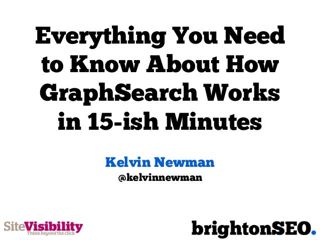 Everything You Needto Know About HowGraphSearch Worksin 15-ish MinutesKelvin Newman@kelvinnewman
