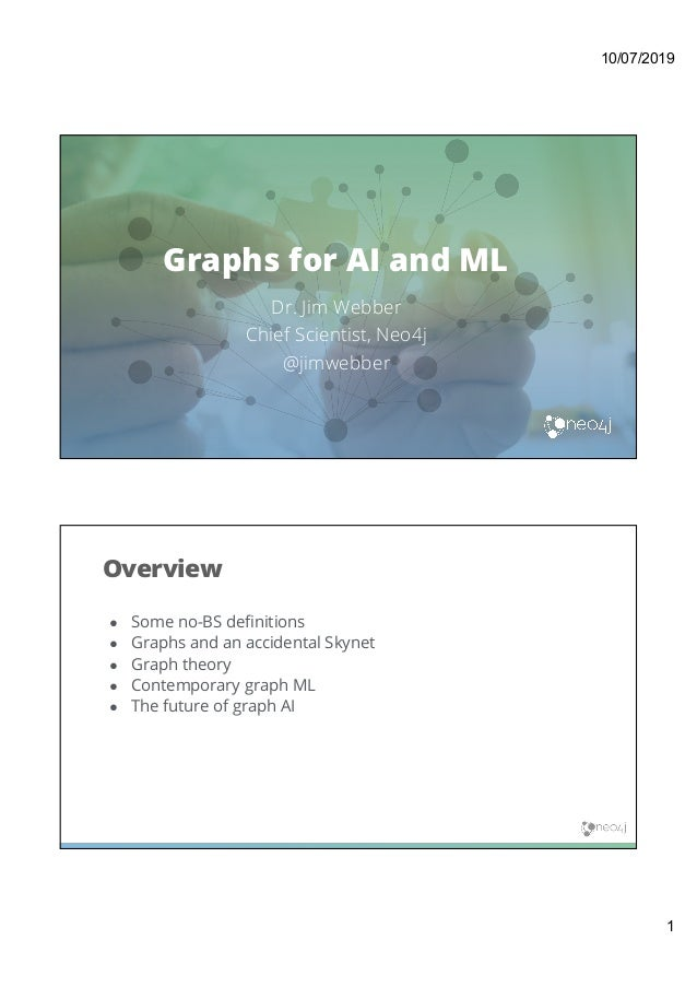 10/07/2019 1 Graphs for AI and ML Dr. Jim Webber Chief Scientist, Neo4j @jimwebber ● Some no-BS definitions ● Graphs and a...