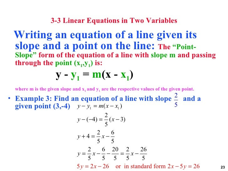 point slope form 3 variables  Graphs linear equations and functions