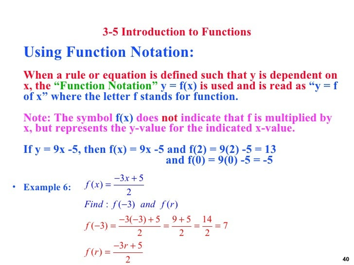use function notation to write the equation of the line Best answer: remember, function notation, f(x), is just y so f(x)= 3x- 8 is exactly the same as y = 3x- 8 to write the equation of a line you.