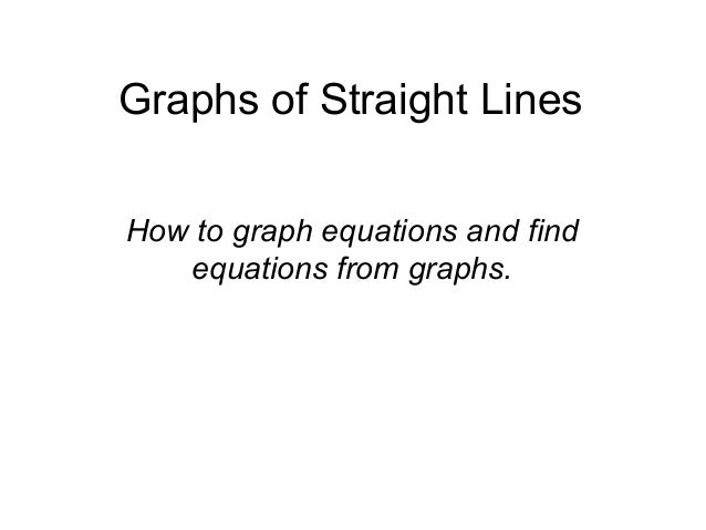 Graphs of Straight LinesHow to graph equations and findequations from graphs.