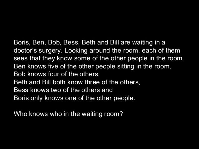 Boris, Ben, Bob, Bess, Beth and Bill are waiting in adoctor's surgery. Looking around the room, each of themsees that they...