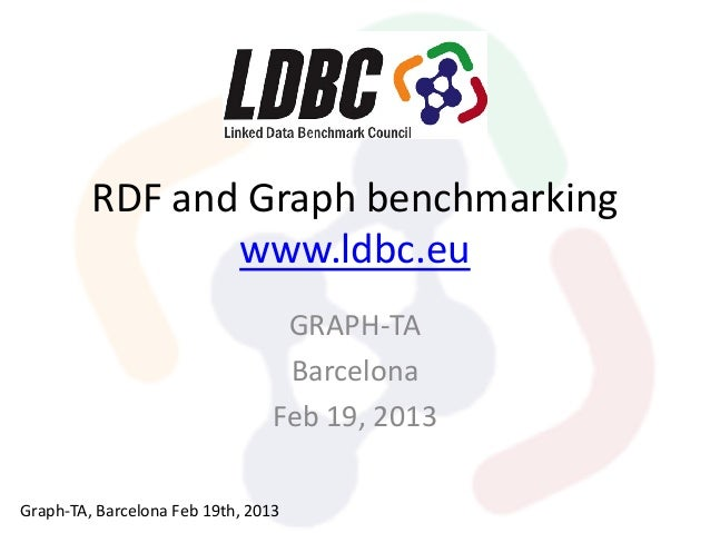 RDF and Graph benchmarking www.ldbc.eu GRAPH-TA Barcelona Feb 19, 2013 Graph-TA, Barcelona Feb 19th, 2013