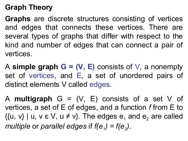 Graph Theory Graphs are discrete structures consisting of vertices and edges that connects these vertices. There are sever...