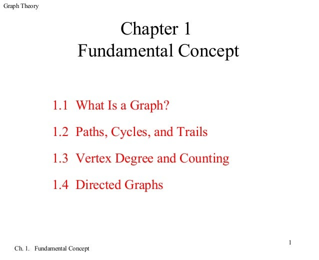 Graph Theory Ch. 1. Fundamental Concept 1 Chapter 1 Fundamental Concept 1.1 What Is a Graph? 1.2 Paths, Cycles, and Trails...