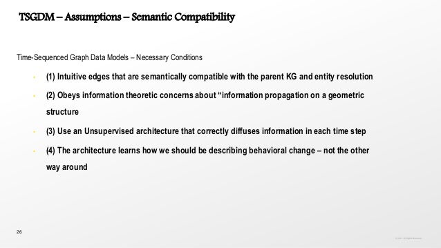 26 TSGDM – Assumptions – Semantic Compatibility Time-Sequenced Graph Data Models – Necessary Conditions • (1) Intuitive ed...