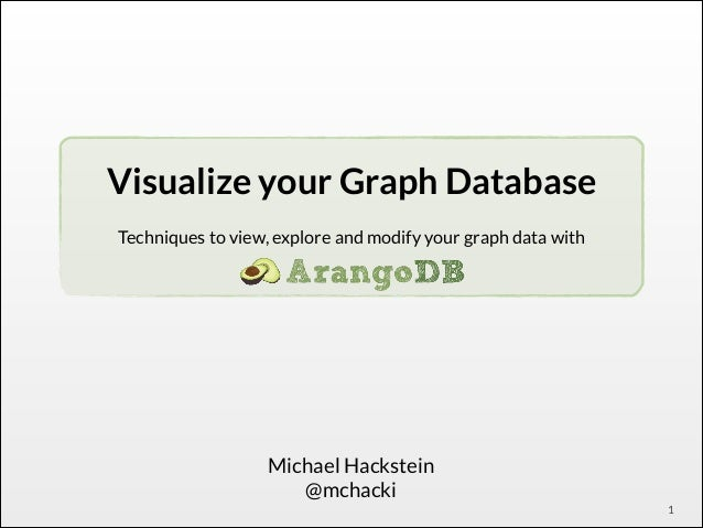 Visualize your Graph Database ! Techniques to view, explore and modify your graph data with !  Michael Hackstein @mchacki ...