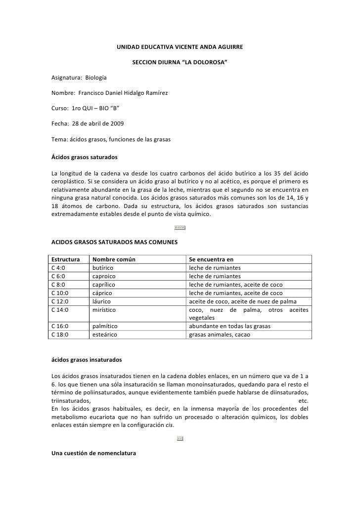 """UNIDAD EDUCATIVA VICENTE ANDA AGUIRRE <br />SECCION DIURNA """"LA DOLOROSA""""<br />Asignatura:  Biología<br />Nombre:  Francisc..."""