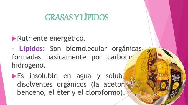 GRASAS Y LÍPIDOS Nutriente energético. - Lípidos: Son biomolecular orgánicas formadas básicamente por carbono e hidrogeno...