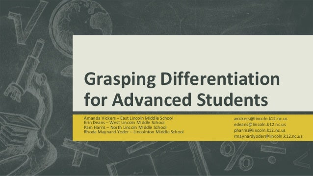 Grasping Differentiation for Advanced Students Amanda Vickers – East Lincoln Middle School Erin Deans – West Lincoln Middl...