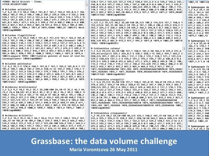 Grassbase: the data volume challenge Maria Vorontsova 26 May 2011