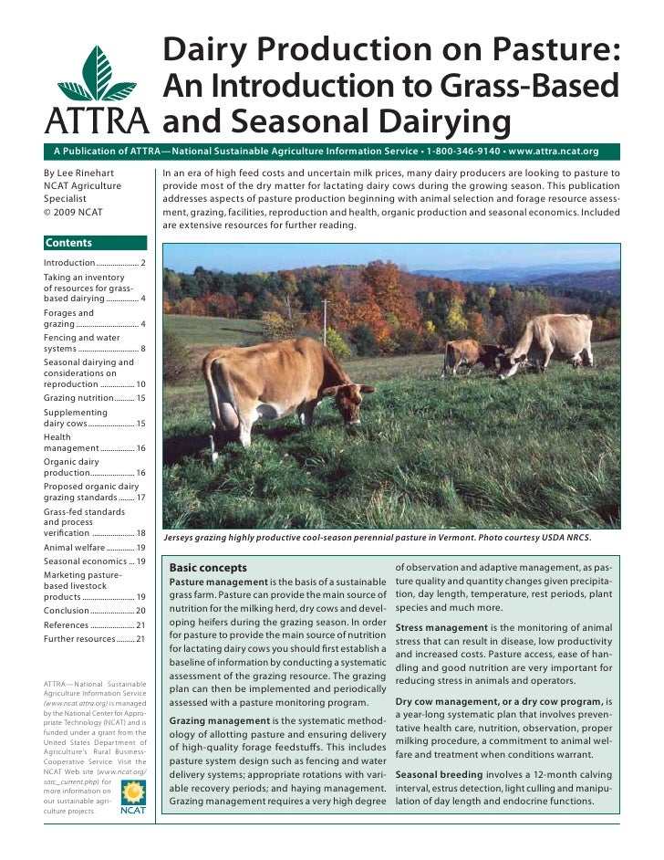 Dairy Production on Pasture:                                            An Introduction to Grass-Based                    ...